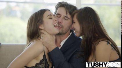 Две телки соблазнили одного парня на жаркий секс втроем с аналом №4
