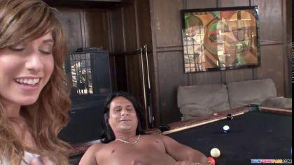 Жаркий секс втроем с сексуальными цыпочками на бильярдном столе №2